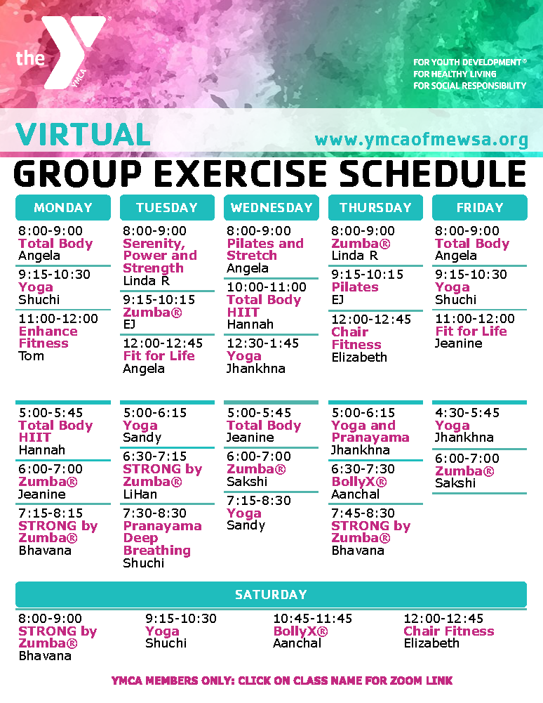 Fitness Schedule with hyperlinks