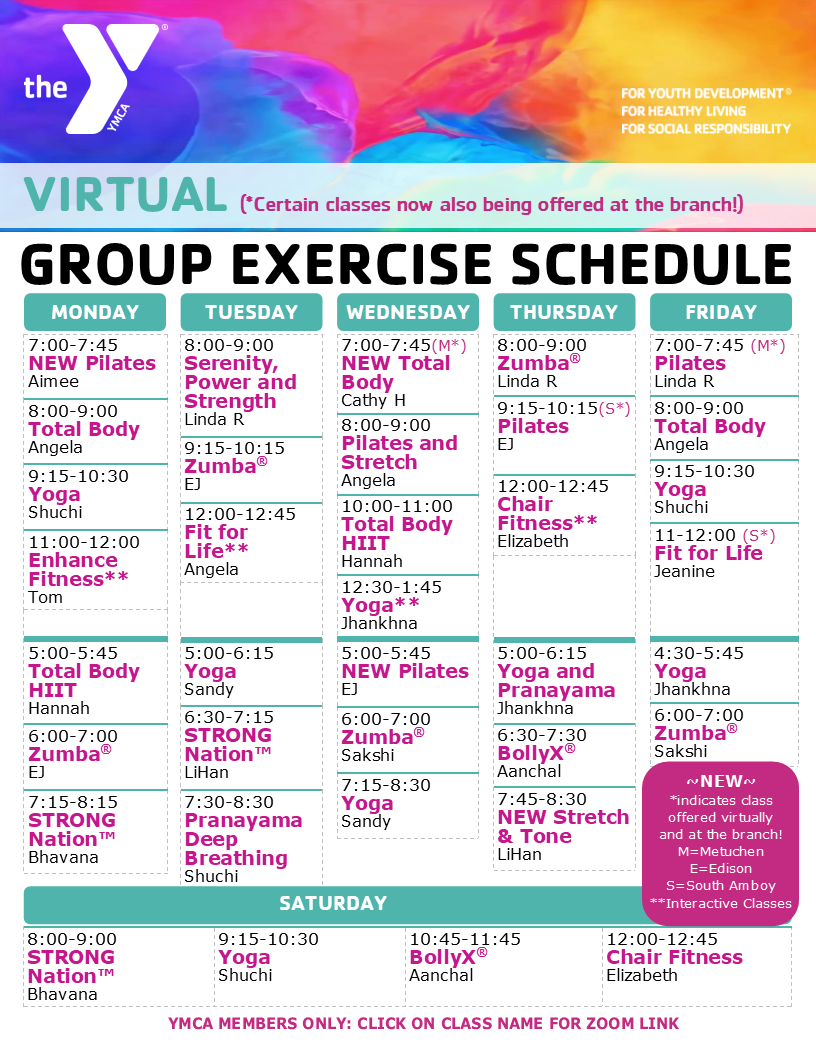 Virtual Fitness Schedule Jan 2021